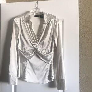 New York & Co. Ivory Dress Blouse